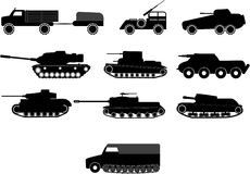 Tank and war machine vehicles. Vector illustrations of tank and war machine vehicles Royalty Free Stock Images