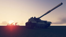 Tank and war. Tank and the war sunset smoke background view Royalty Free Stock Image