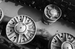 Tank wheels and caterpillar. Close up Royalty Free Stock Photography
