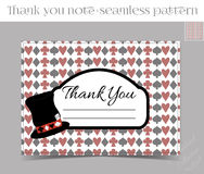 Tank you note - Hatter Hat from Wonderland. Thank you Note - Hatter Hat from Wonderland.  Printable Vector Illustration for Graphic Projects, Parties and the Royalty Free Stock Photo
