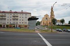 _ Tanka på en sockel i staden av Grodno i Vitryssland Maj 24, 2017 arkivbild