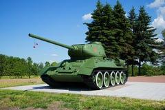 Tanka T34-85 på den minnes- `en Pulkovo utomlands ` St Petersburg Royaltyfri Bild