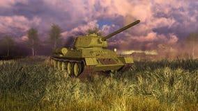 Tanka T 34 på slagfältet av världskrig II royaltyfri illustrationer