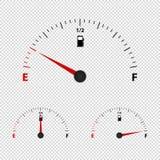 Tankanzeige-Meter-leere, halbe und voll- Vektor-Illustration - lokalisiert auf transparentem Hintergrund lizenzfreie abbildung