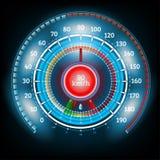 Tankar den skinande hastighetsmätaren för bilrundaabstrakt begrepp med pilindikatorer Royaltyfri Foto