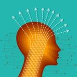Tankar och alternativ Vektorillustration av huvudet med pilar Arkivbild