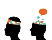 Tankar som kommer ut ur hjärna Arkivfoto