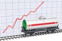 Tankauto op de spoorweg met het kweken van grafiek, het 3D teruggeven Royalty-vrije Stock Afbeelding