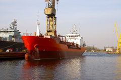 Tanker. The tanker after the completion of repairs in  the Gdansk shipyard repair Stock Photos