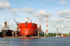 Tanker. Repair of class tanker in Gdansk Repair Shipyard Poland Royalty Free Stock Photography