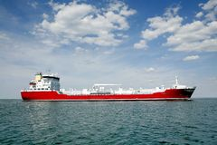 Tanker. Red tanker at open sea Royalty Free Stock Photo