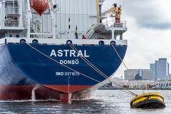 Tanker Astral at the buoy. Port of Amsterdam, Noord-Holland/Netherlands -October 05-10-16- Tanker Astral is shifting from terminal to the buoy. Terminal is an Royalty Free Stock Photos