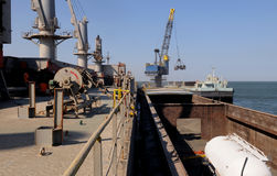 Cargo Ship Main Deck - Tanker on Barge - Crane Royalty Free Stock Images