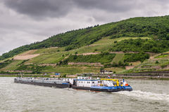 Tanker barge (tank/gas) on the Rhine River Royalty Free Stock Photos