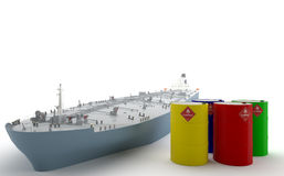 Tanker with Barrels of Oil. Tanker and three barrels, new, painted with attractive colors Royalty Free Stock Photos