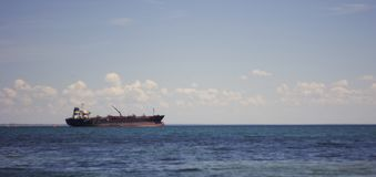 Tanker in the calm sea stock images