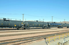 Tanker Car. These tanker cars parked in the classification yard in Barstow, California, are carrying Liquified Petroleum Gas or LPG Royalty Free Stock Photos