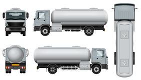 Tanker car template. Truck with tank trailer. Tanker car template. The ability to easily change the color. All sides in groups on separate layers. View from side Royalty Free Stock Images