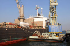 Tanker on a Cargo Ship Stock Image