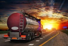 Tanker with chrome tanker on the highway. Working visit royalty free stock images