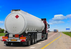 Tanker with chrome. Tanker on the highway. Working visit Royalty Free Stock Image