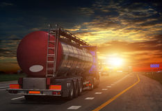 Tanker with chrome tanker on the highway. Royalty Free Stock Photography