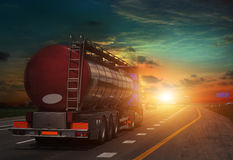 Tanker with chrome tanker on the highway. Stock Image