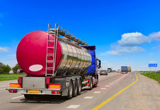 Tanker with chrome tanker. On the highway. Working visit stock photography