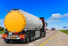 Tanker with chrome tanker on the highway. Stock Images