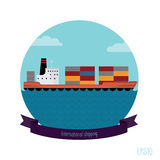 Tanker container. The flat illustration modern transport ship loaded with containers. It contains tape with an inscription Stock Images