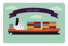 Tanker container. The flat illustration modern transport ship loaded with containers. It contains tape with an inscription Royalty Free Stock Image