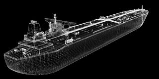 Tanker crude oil carrier ship. 3D model body structure, wire model Stock Photos