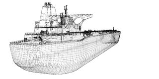 Tanker crude oil carrier ship. 3D model body structure, wire model Stock Photography