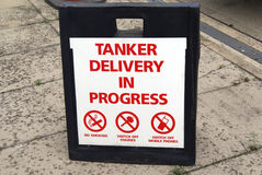 Tanker Delivery In Progress Sign Royalty Free Stock Image