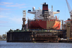 Tanker in dry dock Royalty Free Stock Photos