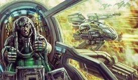 Tanker in een spacesuit binnen de cockpit van een oorlogsvoertuig sc.i-FI vector illustratie