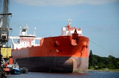 Tanker entering the port. Gdansk in Poland Stock Photos