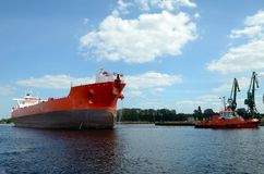 Tanker entering the port. Gdansk in Poland Royalty Free Stock Photography