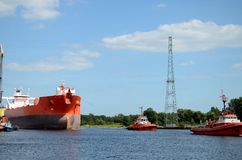 Tanker entering the port. Gdansk in Poland Stock Images