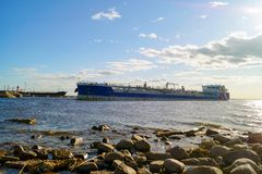 The tanker enters the port of St. Petersburg stock photography