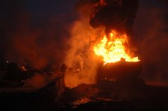 Tanker Fire Royalty Free Stock Photos