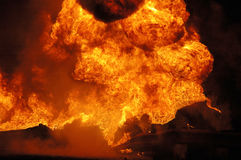 Tanker Fire Royalty Free Stock Images