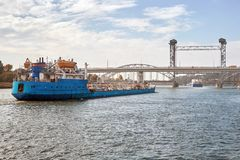 The tanker floats along the river. Royalty Free Stock Images