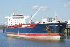 A Tanker in the harbor of Hamburg Royalty Free Stock Image