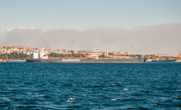 Tanker heavy boat in Bosphorus strait Royalty Free Stock Images