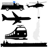 Tanker helicopter silhouettes. Oil tanker fire engine helicopter plane and train silhouettes Royalty Free Stock Image