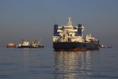 Tanker on the high seas. Large tankers on the high seas at anchor Royalty Free Stock Photo