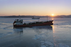 The tanker in ices Royalty Free Stock Image