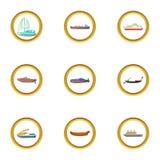 Tanker icons set, cartoon style. Tanker icons set. Cartoon illustration of 9 tanker vector icons for web design Stock Image