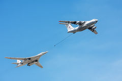 Tanker Il-78 and strategic bomber and missile platform Tu-160 Stock Photos